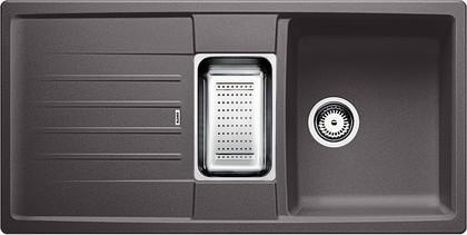 Кухонная мойка оборачиваемая с крылом, с клапаном-автоматом, гранит, тёмная скала Blanco LEXA 8 S 518864