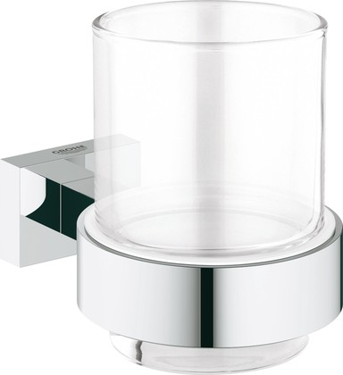 Стакан стеклянный, хром Grohe Essentials Cube 40755001