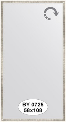 Зеркало 58x108см в багетной раме витое серебро Evoform BY 0725