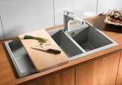 Кухонная мойка основная чаша слева, без крыла, гранит, белый Blanco METRA 9 513269