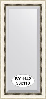 Зеркало 53x113см с фацетом 30мм в багетной раме старое серебро с плетением Evoform BY 1142