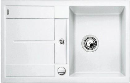 Кухонная мойка оборачиваемая с крылом, с клапаном-автоматом, гранит, белый Blanco METRA 45 S-F 519083