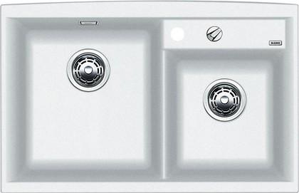 Кухонная мойка основная чаша слева, без крыла, с клапаном-автоматом, гранит, белый Blanco AXIA II 8 516886