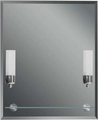 Зеркало 55x65см с фацетом 15мм со встроенными светильниками-бра и стеклянной полочкой Dubiel Vitrum CENTO II 5905241015965