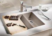 Кухонная мойка без крыла, основная чаша справа, с клапаном-автоматом, гранит, жасмин Blanco SUBLINE 340/160-U 520407