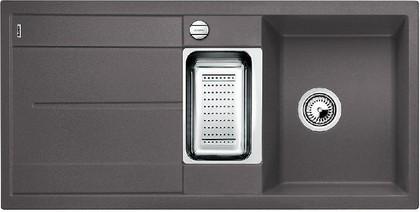 Кухонная мойка оборачиваемая с крылом, с клапаном-автоматом, коландером, гранит, тёмная скала Blanco METRA 6 S-F 519118