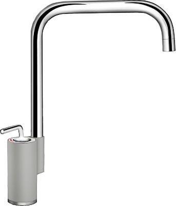 Кухонный однорычажный смеситель в высоким изливом, хром / жемчужный Blanco AJARIS 520823