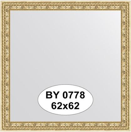 Зеркало 62x62см в багетной раме сусальное золото с фацетом Evoform BY 0778