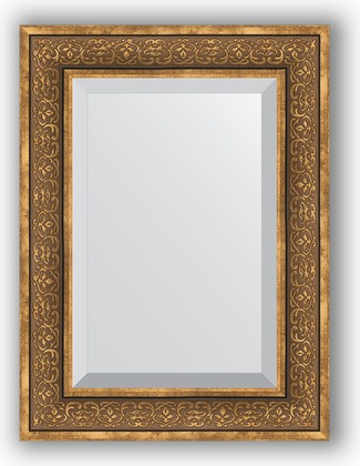 Зеркало с фацетом в багетной раме 59x79см вензель бронзовый 101мм Evoform BY 3396