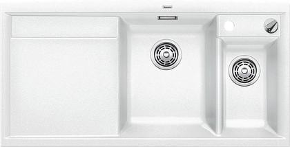 Кухонная мойка чаши справа, крыло слева, с клапаном-автоматом, с коландером, гранит, белый Blanco AXIA II 6 S-F 517649