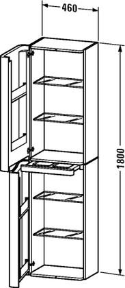 Шкаф подвесной высокий, петли слева, 1800х460, белый глянец Duravit PuraVida 9206 85 85 L