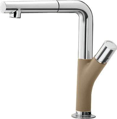 Смеситель кухонный однорычажный с выдвижным изливом, серый беж / хром Blanco YOVIS-S 518300