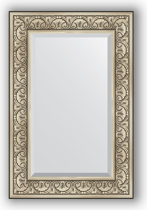 Зеркало с фацетом в багетной раме 60x90см барокко серебро 106мм Evoform BY 3424