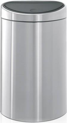 Мусорный бак с плоской задней стороной 40л стальной матовый Brabantia TOUCH BIN 348549