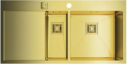 Кухонная мойка с левым крылом, нержавеющая сталь, золото Omoikiri Akisame 100-2-LG-R 4993090
