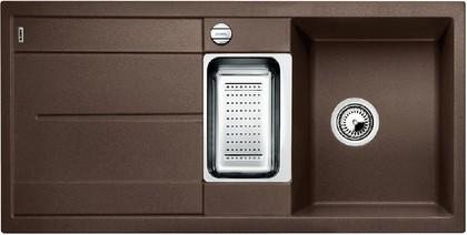 Кухонная мойка оборачиваемая с крылом, с клапаном-автоматом, коландером, гранит, кофе Blanco METRA 6 S-F 519120