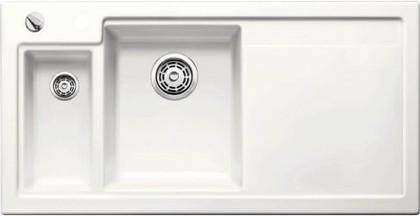Кухонная мойка чаши слева, крыло справа, с клапаном-автоматом, с коландером, керамика, белый матовый Blanco AXON II 6 S PuraPlus 516543