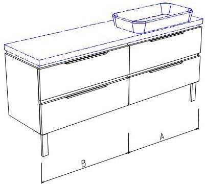 Тумба напольная, 4 ящика, без столешницы и раковины 140х50х50см Verona Ampio AM214.A070.B070.000
