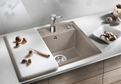 Кухонная мойка без крыла, с клапаном-автоматом, гранит, белый Blanco DALAGO 45 517160