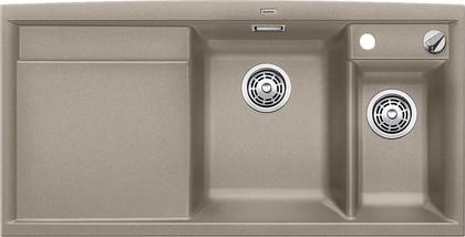Кухонная мойка чаши справа, крыло слева, с клапаном-автоматом, с коландером, гранит, серый беж Blanco AXIA II 6 S 517289