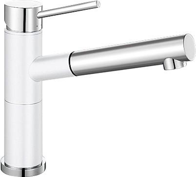 Небольшой кухонный однорычажный смеситель с выдвижным изливом, хром / белый Blanco ALTA-S Compact 515327