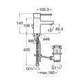 Смеситель для раковины однорычажный с донным клапаном, хром Roca TARGA 5A3060C00