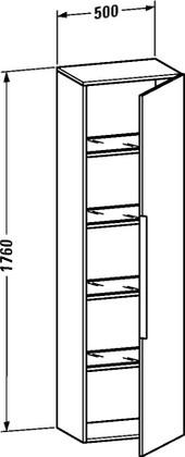 Высокий шкаф подвесной с полками, петли справа, 500х360х1760мм, белый глянцевый Duravit HAPPY D.2 H2 9253 22 R