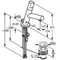 Смеситель для раковины однорычажный стандартный с донным клапаном, хром Kludi NEW WAVES 570230575
