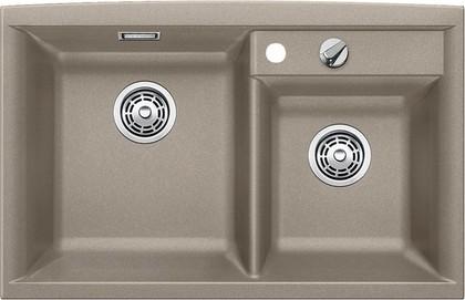 Кухонная мойка основная чаша слева, без крыла, с клапаном-автоматом, гранит, серый беж Blanco AXIA II 8 517296