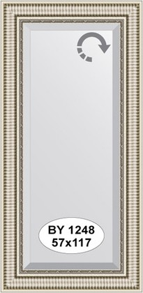 Зеркало 57x117см с фацетом 25мм в багетной раме серебряный акведук Evoform BY 1248