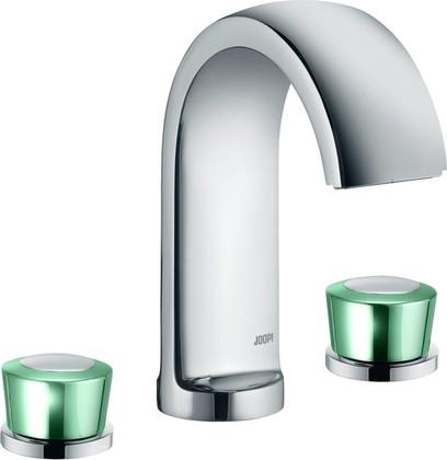 Смеситель вентильный для раковины на 3 отверстия с донным клапаном, хром / зеленоватый хрусталь Kludi JOOP! 55143H705