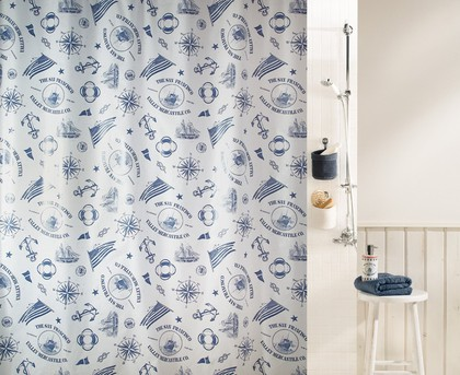 Штора для ванной комнаты 180x200см синяя Spirella WATERMILL 1017493