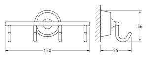 Крючки, моноблок четверной хром FBS VIZ 004