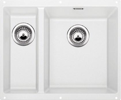 Кухонная мойка без крыла, основная чаша справа, с клапаном-автоматом, гранит, белый Blanco SUBLINE 340/160-U 520406