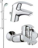 Комплект из душевого гарнитура и смесителей для ванны и раковины, хром Grohe EUROSMART 117921