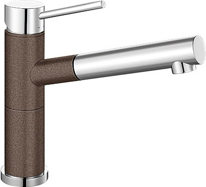 Небольшой кухонный однорычажный смеситель с выдвижным изливом, хром / кофе Blanco ALTA-S Compact 515334