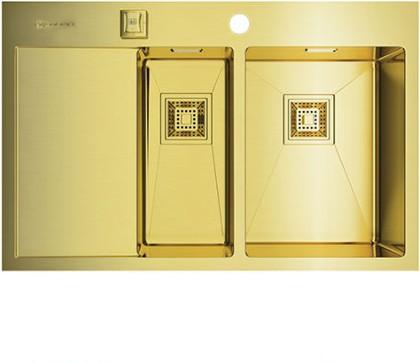Кухонная мойка с левым крылом, нержавеющая сталь, золото Omoikiri Akisame 78-2-LG-R 4993088