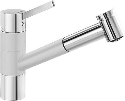 Смеситель однорычажный с высоким выдвижным изливом для кухонной мойки, хром / жемчужный Blanco TIVO-S 520755