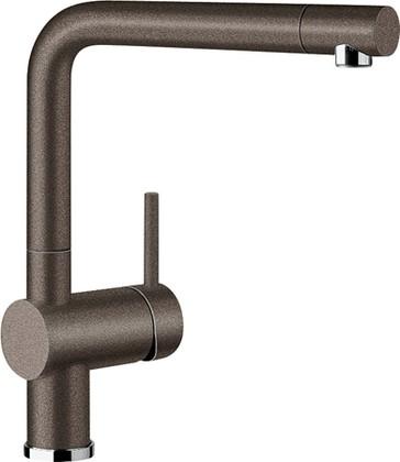 Смеситель кухонный однорычажный с высоким выдвижным изливом, SILGRANIT кофе Blanco LINUS-S 516697