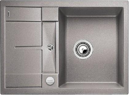 Кухонная мойка оборачиваемая с крылом, с клапаном-автоматом, гранит, алюметаллик Blanco METRA 45 S Compact 519574