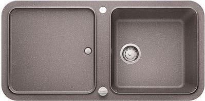 Кухонная мойка оборачиваемая с крылом, с клапаном-автоматом, гранит, алюметаллик Blanco YOVA XL 6 S 519585
