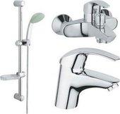 Комплект смесителей для раковины и для ванны с душевым гарнитуром, хром Grohe EUROSMART 11693600