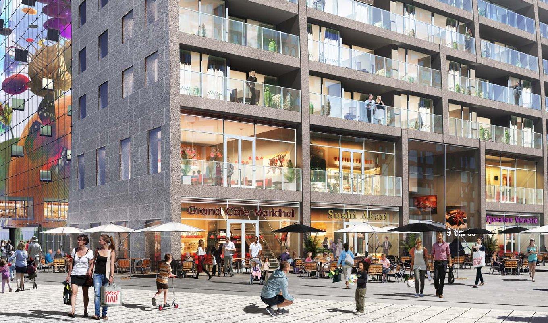 Первый крытый продовольственный рынок Нидерландов Markthal Rotterdam. Вид Б