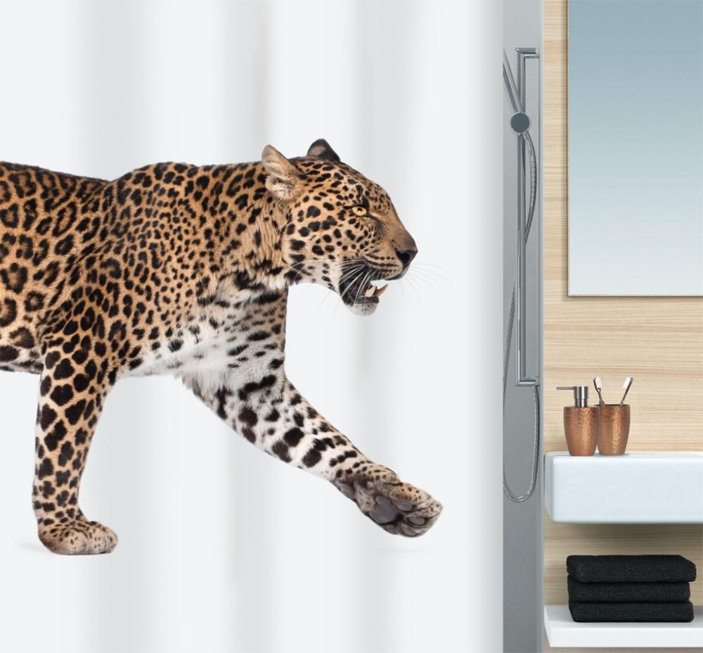 Штора для ванны 180x200см текстильная бежево-чёрная Spirella LEOPARD