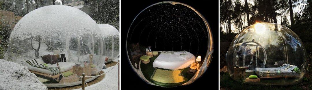 Внешний вид жилых пузырей-модулей глэмпинг-курорта от Attrap'Rêves