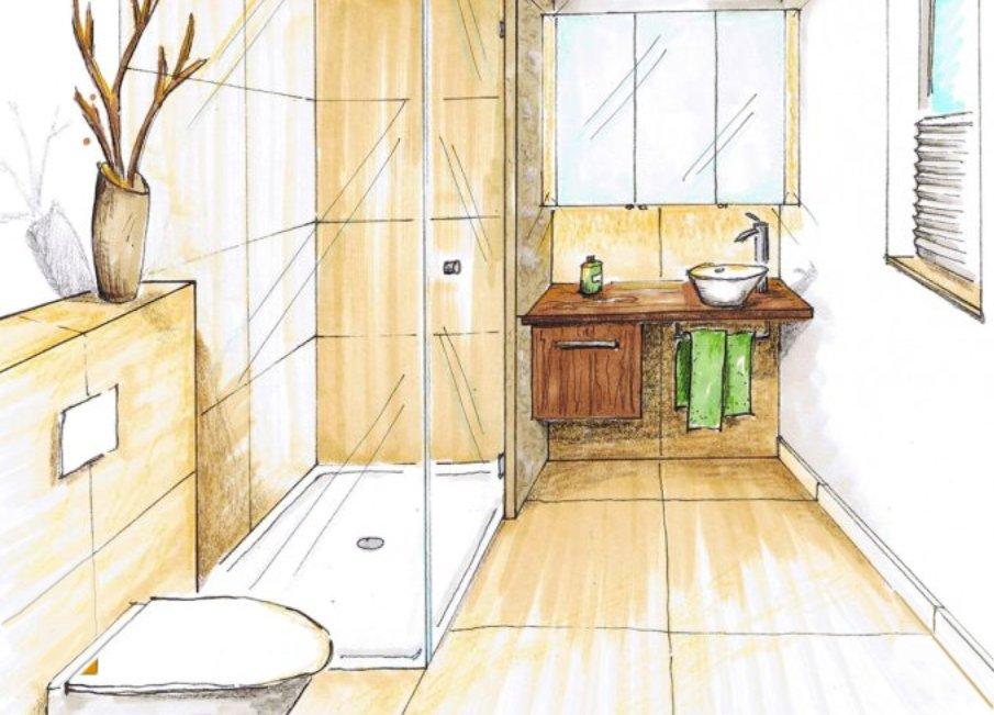 Как маленькие ванные комнаты могут выглядеть большими. Тёмные горизонтали на светлом фоне расширяют