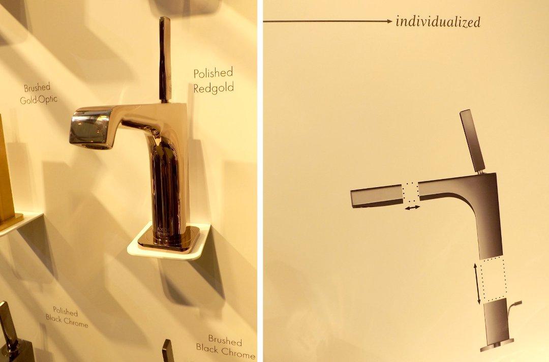 Смеситель для раковины от Axor CITTERIO E (слева) и иллюстрация возможностей выбора покупателем различных размеров изливов Axor на международной строительной выставке «МосБилд 2016»