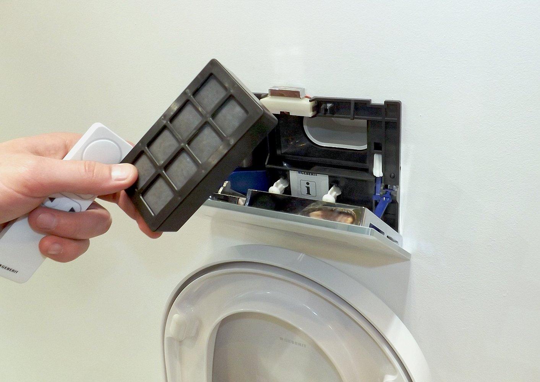 Сменный фильтр для воздуха системы Geberit DuoFresh, вынутый из клавиши Sigma 40