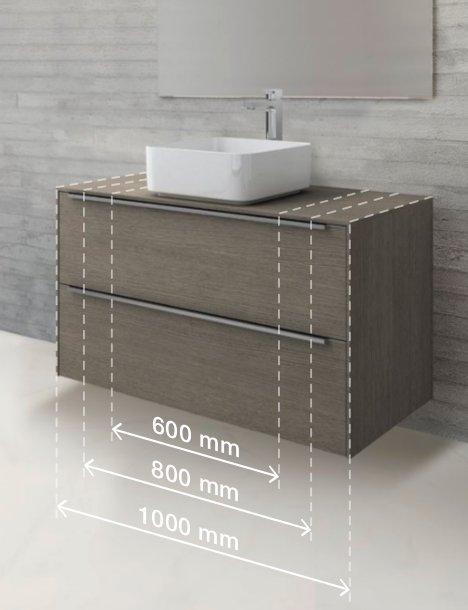 Мебельный модуль шириной 1 м с оформлением «тёмный дуб» и накладная раковина шириной 37 см из материала FINECERAMIC в формате SQUARE из коллекции INSPIRA от Roca с визуализацией вариантов ширины тумбы