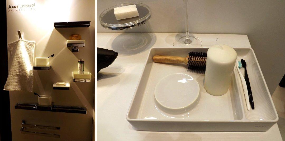 Аксессуары для ванных комнат и туалетов от Axor (слева) и Laufen на международной строительной выставке «МосБилд 2016»